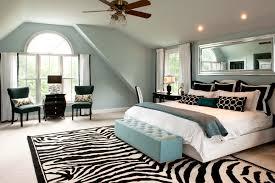Splashy Zebra Print Rug In Bedroom Traditional With Decoration Next To Blue Alongside