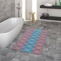 badematte kurzflor teppich für badezimmer einfarbig kreis muster in türkis größe 70x120 cm