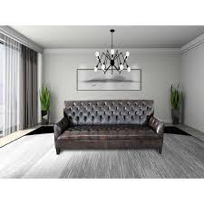 Sophia BlackBrown Faux Leather Tufted Button Sofa Set