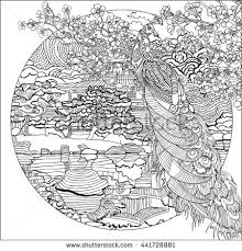 Beautiful Peacock On The Background Of Oriental LandscapeColoring Pages Japan