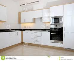 Modern White Kitchen Interior 3d Rendering Stockfoto Und Modern White Kitchen Interior Stock Image Image Of Window