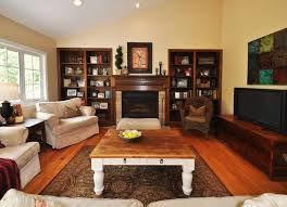 Living Room Captivating Rustic Wall Decor Design Ideas With Fireplace And Tv Also Sophisticated Sofas Plus Built In Shelves