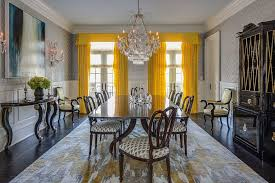 Bright Yellow Drapes Make A Bold Statement In The All Gray Dining Room Design