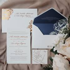 Rose Gold Navy Invitation