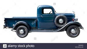 Blue Vintage Pickup Truck From 1930s Isolated Against White Stock ...