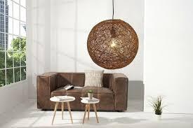 runde hängeleuchte kugel aus hanf braun hängele wohnzimmer