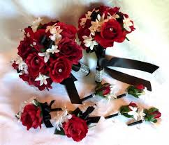 Red Rose Bouquet White Black Wedding And Boutonniere Package