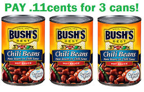 11cents For 3 Cans Of Chili Beans