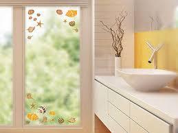glasdekor fenstersticker set für badezimmer muscheln