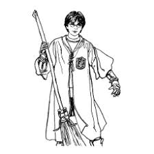 Harry Potter With Magic Broom In Hand Coloring Pages