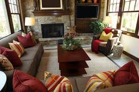 Living Room Ideas Brown And Red Rustic Design With Brick Wall Containing A Fireplace Television Cream Carpet 2016 Elegant