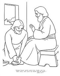 Jesus Washes Disciples Feet Coloring Page