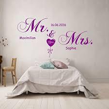 wandtattoo schlafzimmer mr mrs mit namen datum