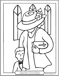Mother At Church Catholic Coloring Page
