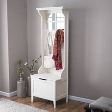 Image Of White Entryway Bench And Coat Rack