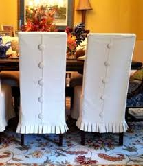 Shabby Chic Dining Room Chair Covers by Covered Button Details Slipcover Ideas Pinterest Skirts