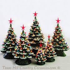 12 illuminated tabletop ceramic christmas trees christmas