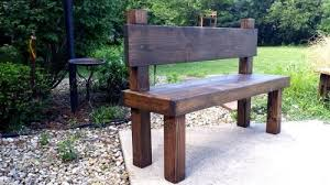Reclaimed Primtiques Dark Walnut Stained Bench With Plank Back Garden Wooden
