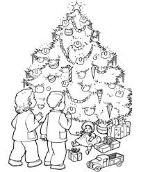Children Christmas Gifts And Tree Coloring Page
