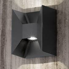 eglo morino black cube led up and wall light wall mounted