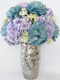 Artificial Flower Arrangement Teal Peonies Lavender Hydrangea