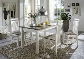 massivholz esstisch boston 78x78cm weiß tischplatte grau