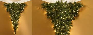 Upside Down Corner Pre Lit Christmas Tree The Green Head Regarding Hanging