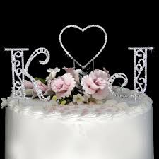 Roman Letters and Renaissance Heart WF Monogram Wedding Cake Toppers