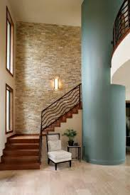 Home Interior Design Stone Accent Wall Ideas Stacked In The Hallway With A