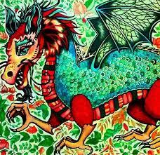 Dragon Enchanted Forest Dragao Floresta Encantada Johanna Basford Adult ColoringColoring BooksJohanna