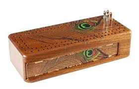 Peacock Feather Cribbage Board