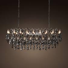 Vintage Smoky Crystal Chandelier Lighting Black Candle Chandeliers