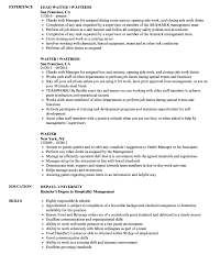 Remarkable Waiter Resume Examples Sample No Experience Objective Pdf New Waitress Example