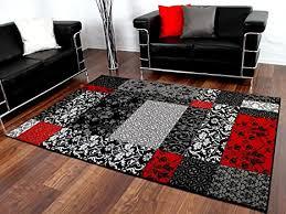 designer teppich schwarz rot weinrot patchwork karo in 4 größen