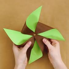 Two Colored Paper Pinwheel Craft For Kids