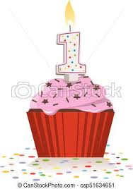 First Birthday Cupcake With Lit Candle Vector
