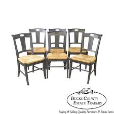 Pottery Barn French Country Set Of 6 Black Painted Rush Seat ... Refinished Painted Vintage 1960s Thomasville Ding Table Antique Set Of 6 Chairs French Country Kitchen Oak Of Six C Home Styles Countryside Rubbed White Chair The Awesome And Also Interesting Antique French Provincial Fniture Attractive For Eight Cane Back Ding Set Joeabrahamco Breathtaking