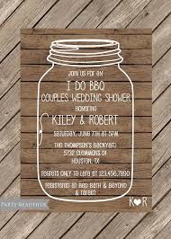 Couples Or Coed Wedding Shower Invitation Rustic I Do BBQ Mason Jar Wood Printable