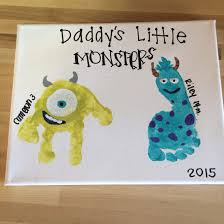 Cubicle Decoration Ideas For Engineers Day by Father U0027s Day Gift Monsters Inc Toddler Handprint Canvas Craft