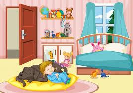mädchen schläft mit hund im schlafzimmer kostenlose vektor