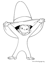 Happy Monkey Smiling And Holding A Hat Coloring Page