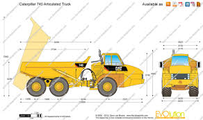 100 Articulated Truck Caterpillar 740 Vector Drawing