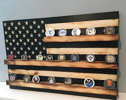 16 X 24 Rustic Distressed Black And White US Flag Military Challenge Coin Display