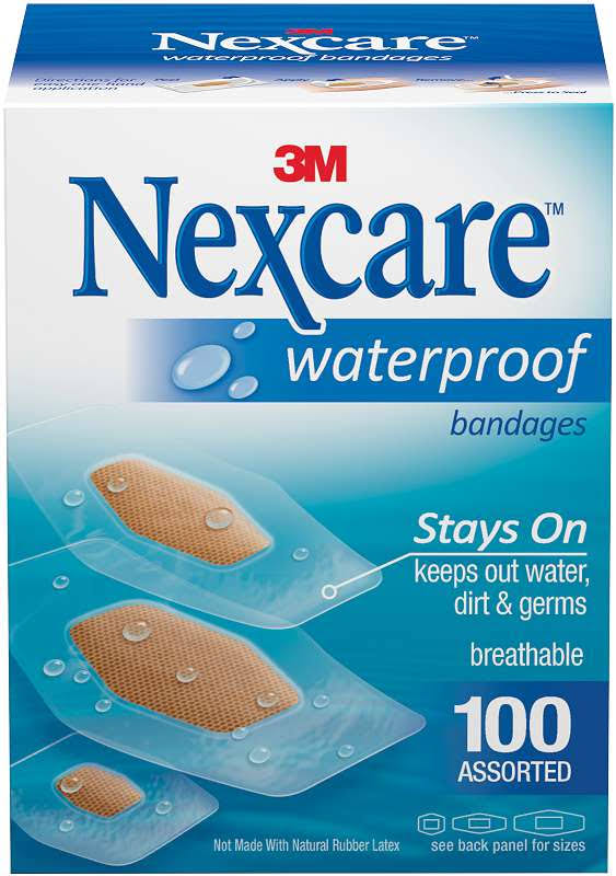 3M Nexcare Waterproof Bandages - 100 Count, Assorted