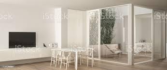 minimalistisches wohnzimmer mit esstisch große fenster auf der terrasse auf der terrasse mit liegestuhl und küche im hintergrund modernes modernes