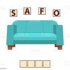 spiel worte puzzle möbel sofa bildung entwickelnkind rätsel für die vorschule stock vektor und mehr bilder akademisches lernen