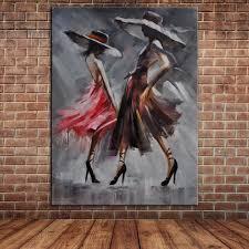 pop tanzenden frauen ölgemälde mädchenakt leinwand kunst abstrakte wandbilder für wohnzimmer kein rahmen