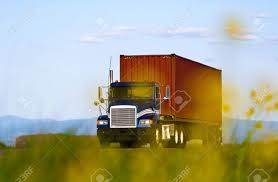 100 Big Blue Truck Carrying Brown Corrugated Metal Container The