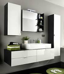 details zu badmöbel badezimmer komplett set weiß hochglanz waschtisch waschbecken led