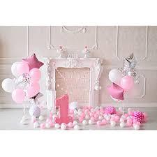 bestoyard fotografie hintergrund baby 1 geburtstag 3d ballons wimpel torten wand foto studio requisiten für mädechen kindergeburtstag rosa